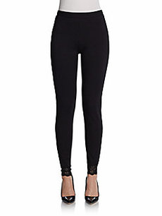 Saks Fifth Avenue BLACK Lace-Detailed Ponte Leggings