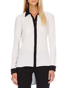 Two-Tone Hi-Lo Blouse   Two-Tone Hi-Lo Blouse