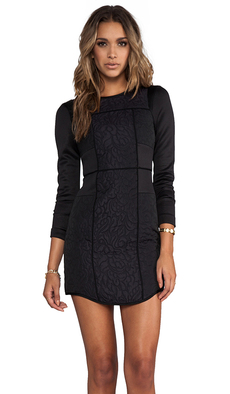 Tibi Katrin Paneled Fitted Dress in Black