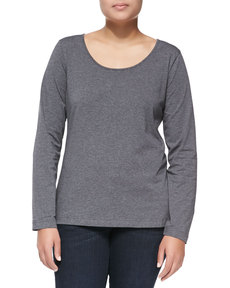 Escada Long-Sleeve Scoop-Neck Knit Blouse, Melange/Silver