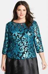 Alex Evenings Three Quarter Sleeve Sequin Blouse
