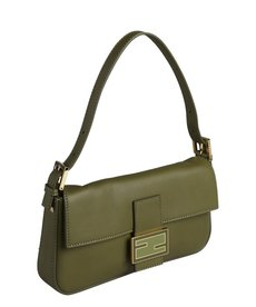 Fendi green leather mini baguette shoulder bag