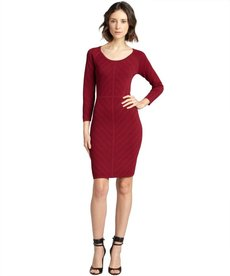 Marc New York pinot noir stretchy pointelle knit three quarter sleeve dress