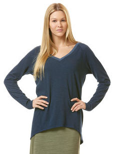 long sleeve double v-neck hi-lo sweatshirt
