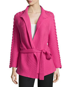 Lafayette 148 New York Three-Quarter Open-Front Shell-Stitch Knit Cardigan, Rubellite