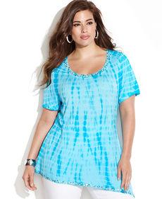 INC International Concepts Plus Size Tie-Dye Embellished Asymmetrical Top