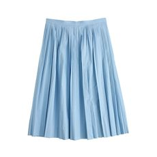 Pleated poplin skirt