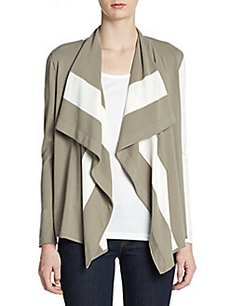 Lafayette 148 New York Two-Tone Draped Cardigan