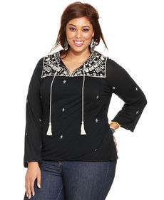 Lucky Brand Plus Size Long-Sleeve Embroidered Peasant Top