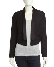 Laundry by Shelli Segal Open Front Tuxedo Jacket, Black