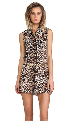 Juicy Couture Luxe Leopard Cover Up Dress in Brown