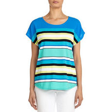 Scoop Neck Tee Shirt with Drop Shoulders