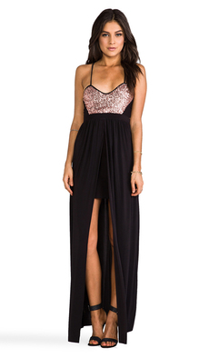 T-Bags LosAngeles Blush Sequins w/ Black Skirt Dress in Black