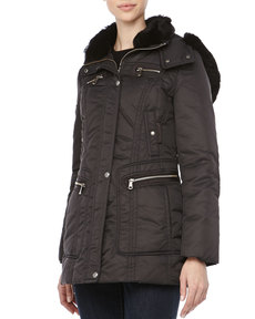 Andrew Marc Pulse Outerwear System Coat w/ Fur Trim, Black