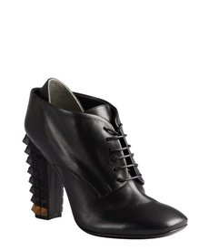 Fendi black leather pyramid stud heel oxford booties