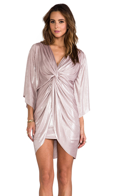 T-Bags LosAngeles Long Sleeve Mini Knot Dress in Metallic Neutral