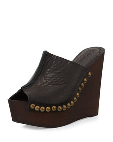 Charles David Recchia Leather Woodgrain Sandal Wedge, Black