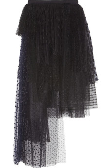 Chloé Embroidered tulle and mesh maxi skirt
