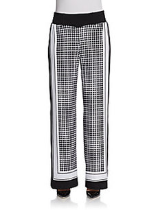 Saks Fifth Avenue BLACK Printed Palazzo Pants