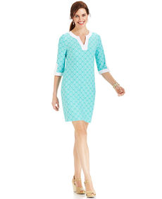 Charter Club Three-Quarter-Sleeve Printed Colorblocked Dress