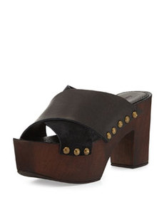Charles David Mania Strappy Suede/Leather Sandal, Black