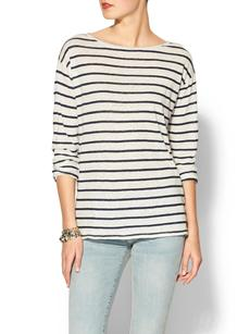 Michael Stars Long Sleeve Boat Neck Stripe Tee