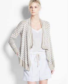 Striped Linen Open Cardigan