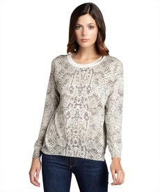 Rebecca Taylor grey python print cotton long sleeve crewneck