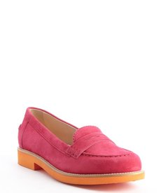 Tod's magenta and tangerine suede colorblock penny loafers