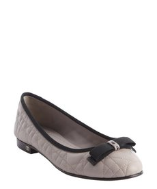 Christian Dior grey quilted leather bow detail ballet flats