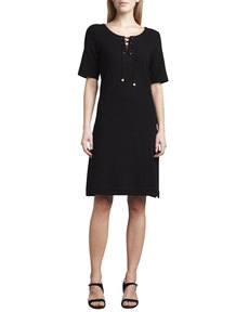 Joan Vass Pique Lace-Up Dress, Petite