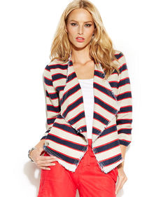 INC International Concepts Striped Drape-Front Linen Jacket