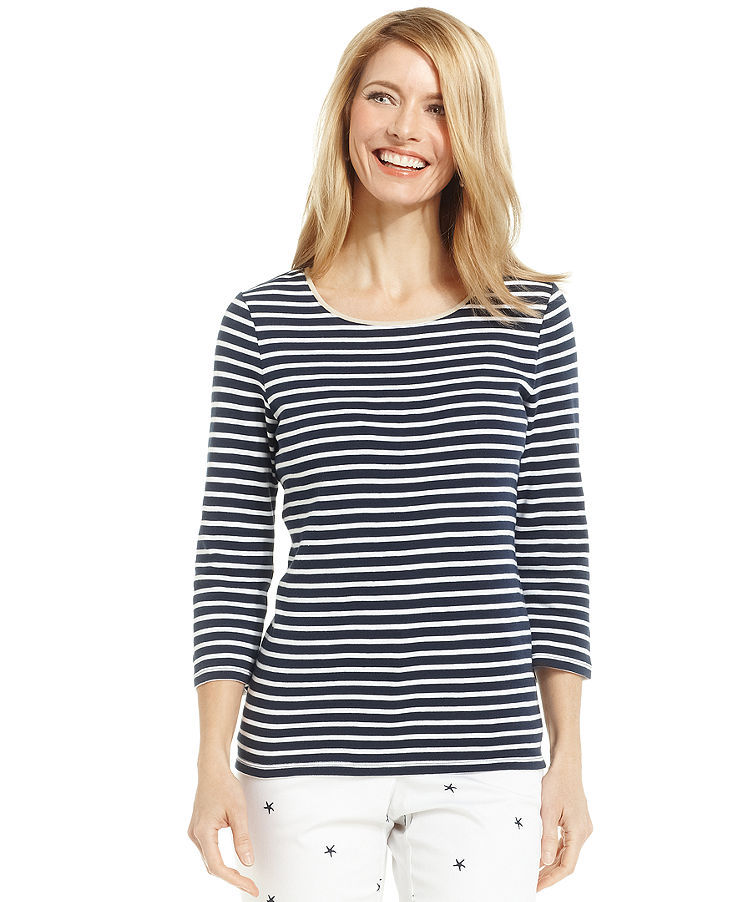 Charter Club Petite Three-Quarter-Sleeeve Striped Contrast-Trim Tee