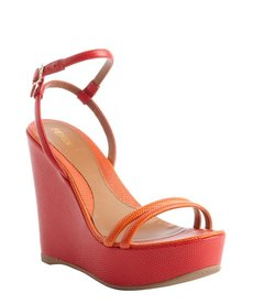 Fendi red and orange leather wedge heel sandals