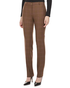 Michael Kors Westminster Plaid Straight-Leg Pants, Chocolate