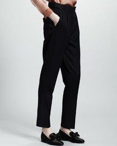 Lanvin Pleat-Front Wool Trousers, Navy