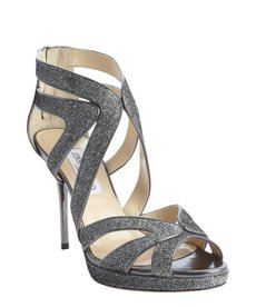 Jimmy Choo silver shimmering canvas and leather cutout 'Karla' pumps