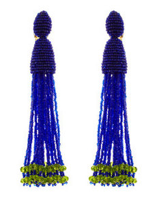 Long Beaded Tassel Clip Earrings, Mulberry Blue/Green   Long Beaded Tassel Clip Earrings, Mulberry Blue/Green