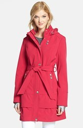 Betsey Johnson Tiered Hem Hooded Trench Coat