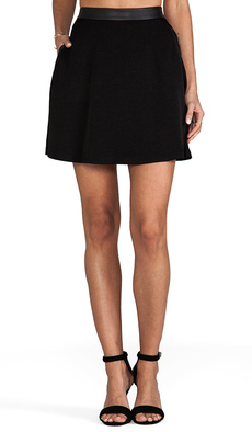 Alice + Olivia Sandi Leather Detail A-Line Skirt in Black