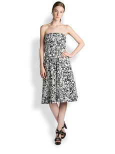 Jil Sander Risiko Printed Strapless Dress