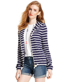 Tommy Hilfiger Long Sleeve Striped Zip-Up Hoodie