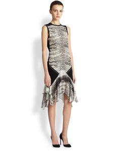 Roberto Cavalli Knit & Silk Chiffon Reptile-Print Dress