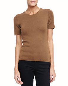 Michael Kors Super Cashmere Tee, Saddle