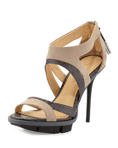 L.A.M.B. Follie Mixed-Media Sandal, Light Gray/Tan