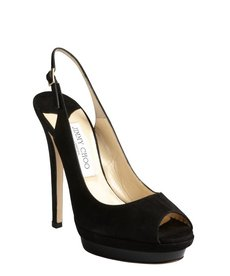 Jimmy Choo black suede slingback peep toe 'Venom' pumps