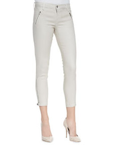 Carey Lacquered Coated Moto Pants, Chalk   Carey Lacquered Coated Moto Pants, Chalk
