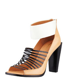 Dede Strappy Open-Toe Bootie, Bone   Dede Strappy Open-Toe Bootie, Bone