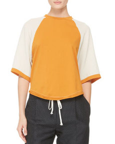 Half-Sleeve Baseball Shirt, Bone/Persimmon   Half-Sleeve Baseball Shirt, Bone/Persimmon