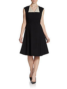 Calvin Klein Flared V-Neck Dress